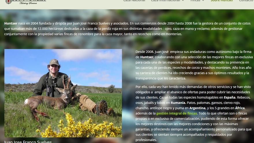 Web de la compañía de caza de Juan José Franco Suelves, bisnieto de Franco.