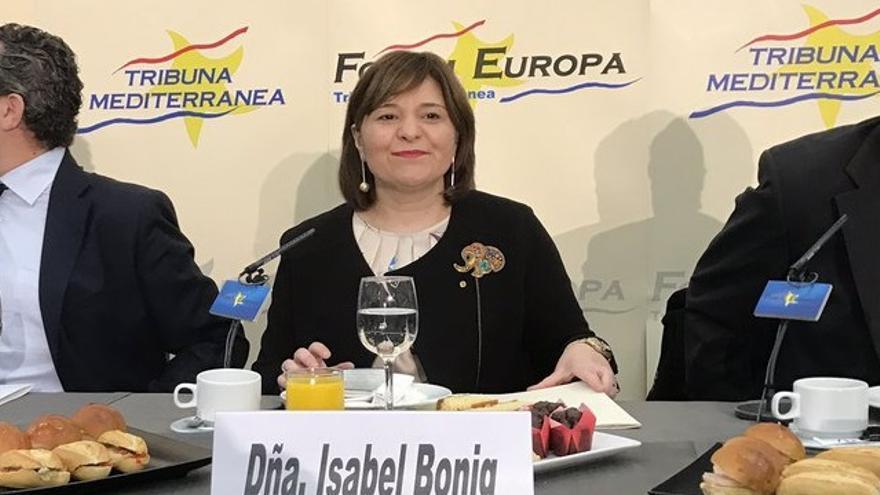 Isabel Bonig hizo las declaraciones durante su intervención en el fórum de Nueva Economía