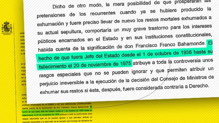 La frase sobre Franco en el auto de exhumación