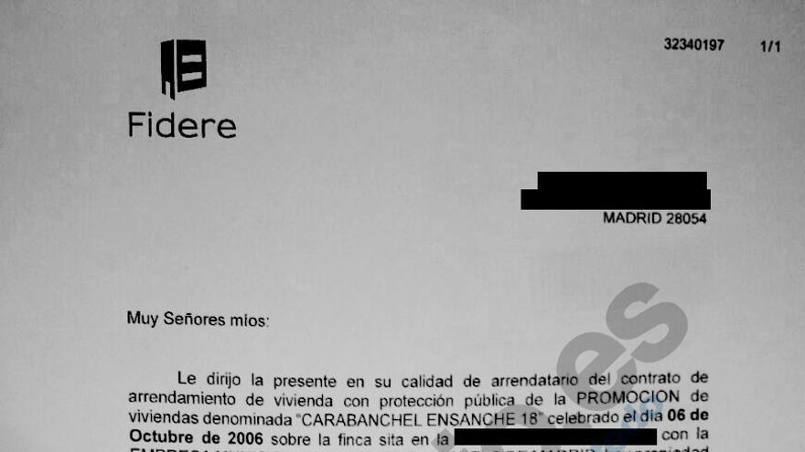 Burofax recibido por Arancha Mejías y su familia para que abandonen su casa en 30 días.