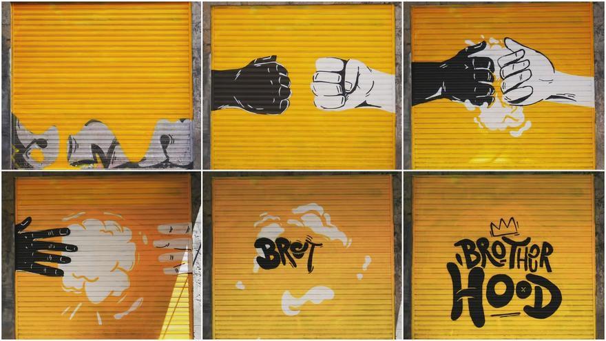 Fotogramas-pinturas de NSN997 sobre su persiana de Palma | PINTA MALASAÑA