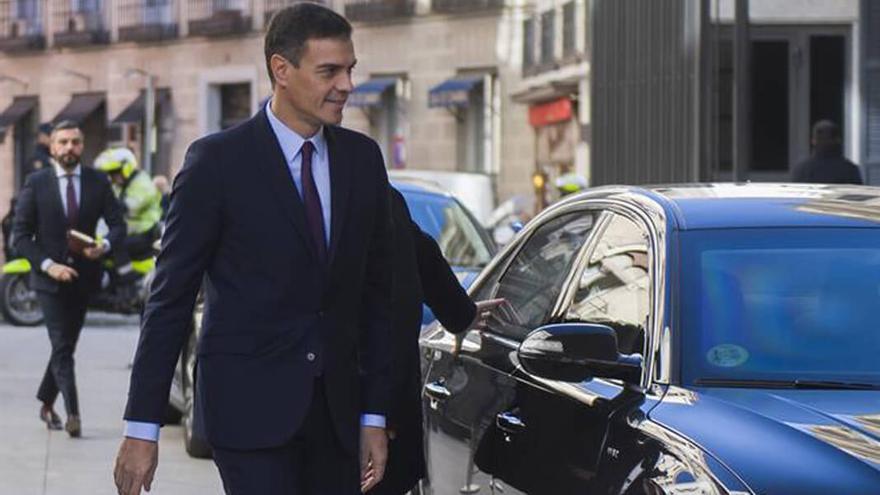 Pedro Sánchez, a su llegada al Congreso de los Diputados.