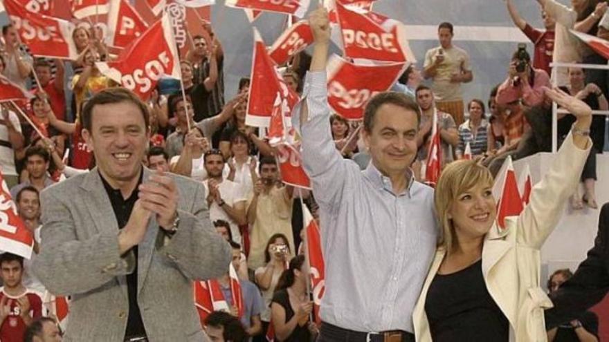 Joan Ignaci Pla, José Luis Rodríguez Zapatero y Etelvina Andreu, imputada en el caso de presunta financiación del PSPV