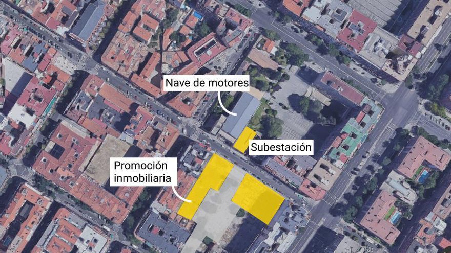 El entorno de la Nave de Motores y la subestación de Metro de Madrid, entre las calles Valderribas y Cavanilles