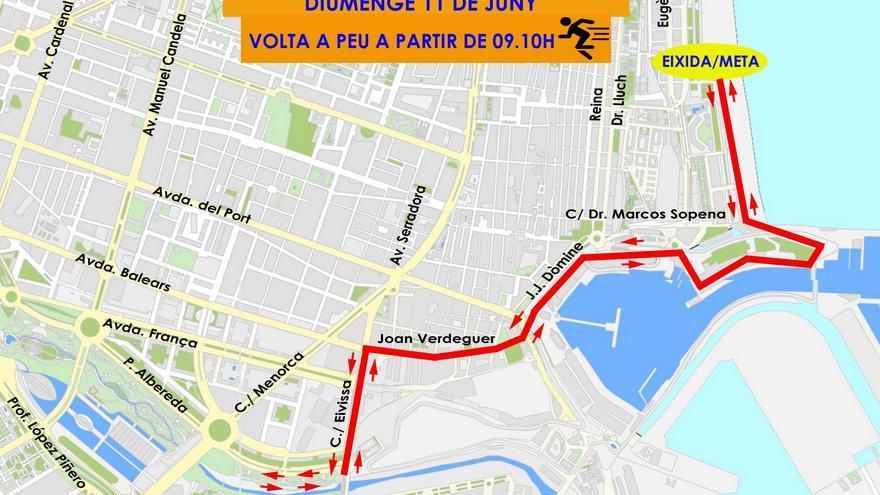 Itinerario de la carrera del Triatlón