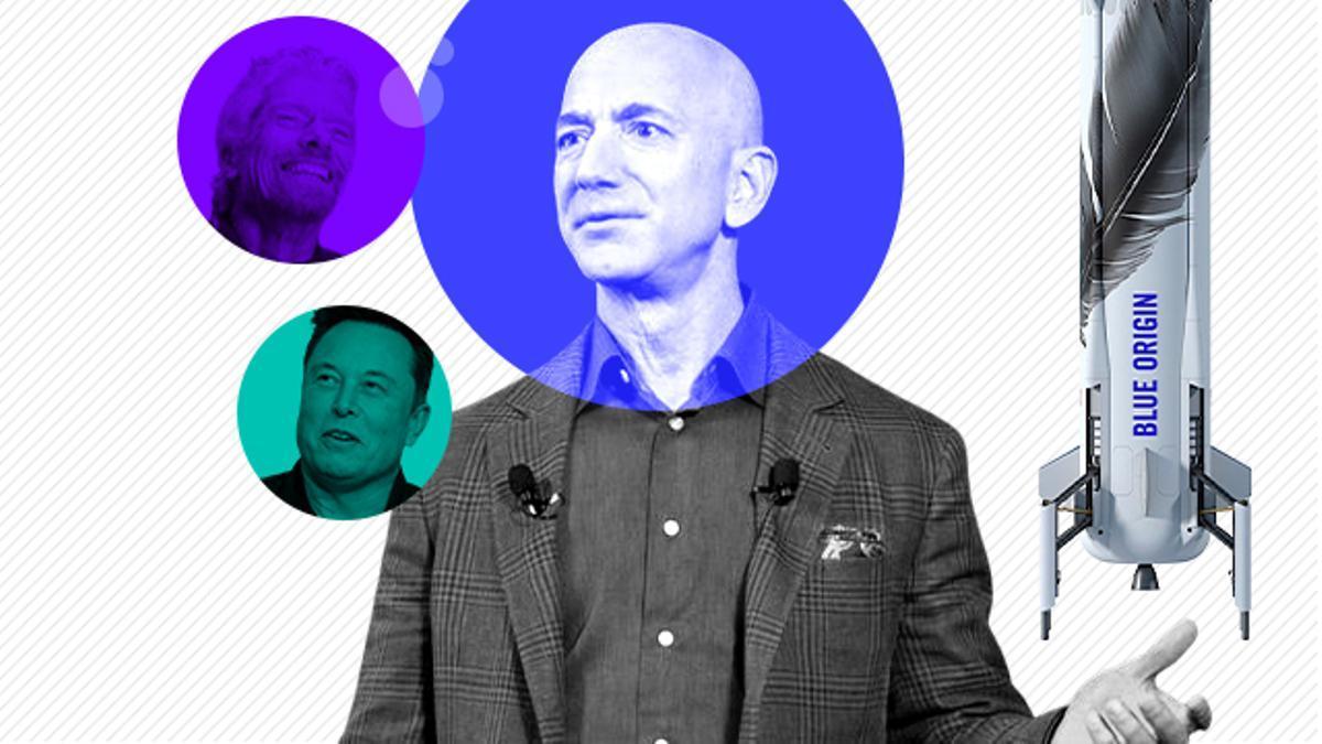 Jeff Bezos (fundador de Amazon), volará a la frontera entre la atmósfera y el espacio este martes con una nave de su empresa Blue Origin, una carrera en la que también están Richard Branson (Virgin Galactic) y Elon Musk (SpaceX).