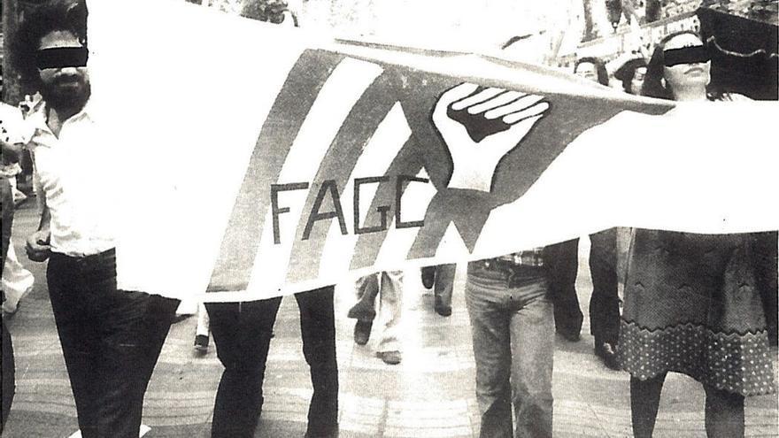 Manifestación de la Federación Anarquista de Gran Canaria (FAGC) en Barcelona en junio de 1977.