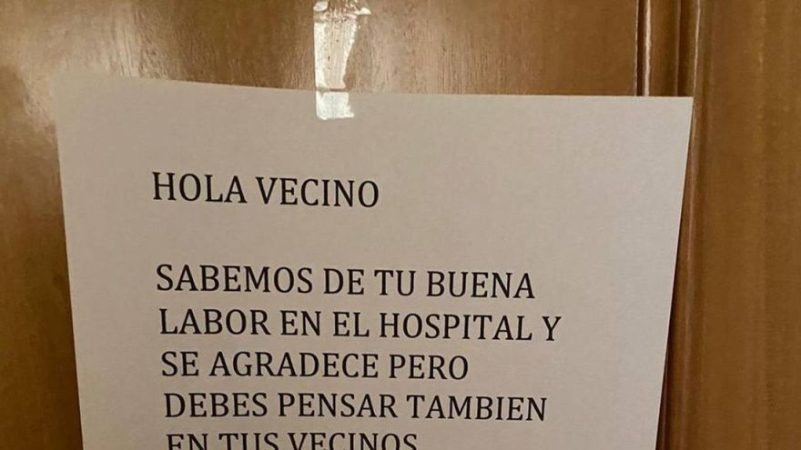 Nota encontrada por un médico de Alcázar de San Juan en la puerta de su domicilio