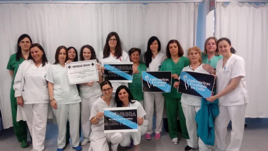 Enfermeras del hospital Lucus Augusti de Lugo apoyando las reivindicaciones de Eventuais en Loita