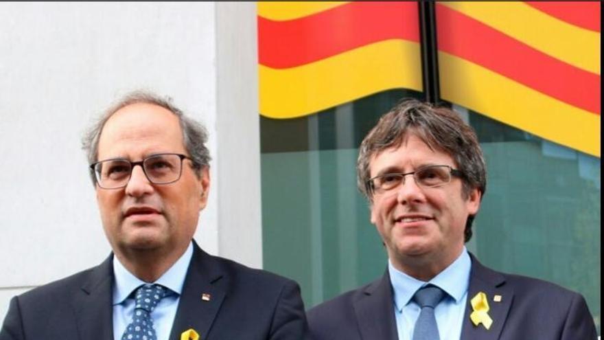 Acto en el Parlamento Europeo del president de la Generalitat de Catalunya, Quim Torra, y del expresident Carles Puigdemont.