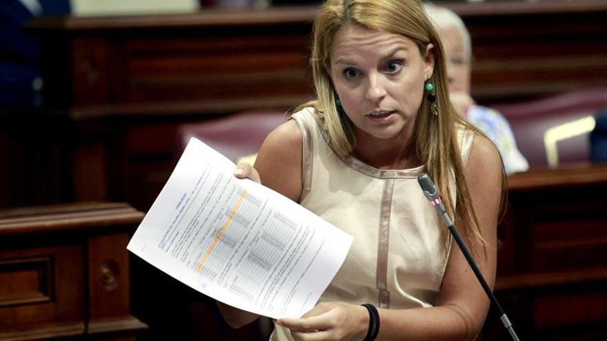 a diputada de Podemos Noemí Santana, durante una de sus intervenciones en la sesión plenaria del Parlamento de Canarias. EFE/Cristóbal García