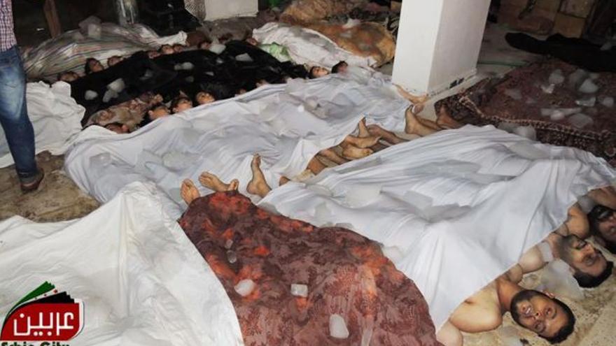 Imagen difundida por la oposición de las víctimas del supuesto ataque con armas químicas