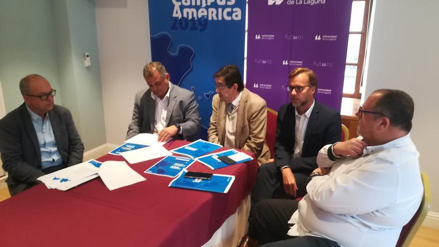 Julio Brito, José Alberto Díaz, Antonio Martinón, Ciro Gutiérrez y Plácido Bazo, en el acto de presentación del Campus América 2019