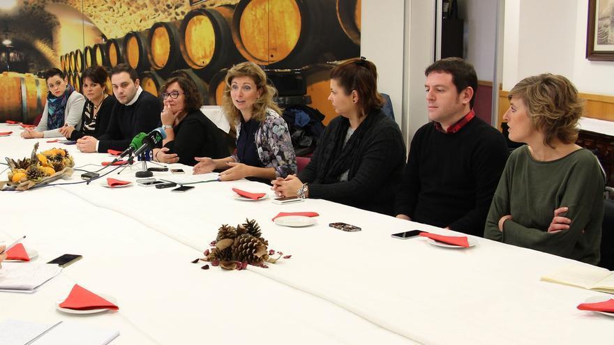 Concejales de PSOE y Compromís de Castelló junto a la alcaldesa, Amparo Marco, en una imagen de archivo.