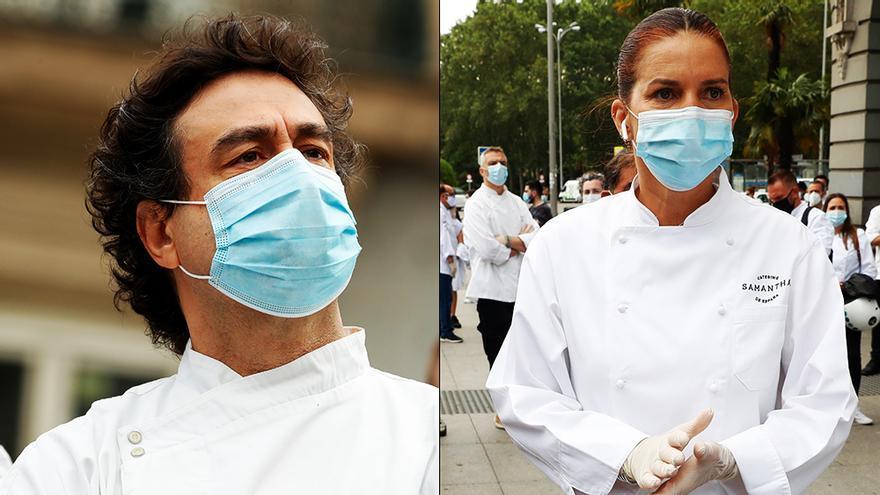 Samantha Vallejo-Nágera y Pepe Rodríguez, en la protesta de los hosteleros contra el gobierno en el Congreso
