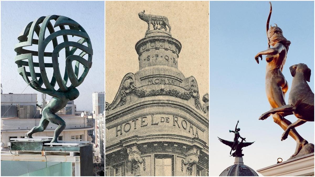 Esculturas de Atlas, la loba capitolina y la Diana cazadora apuntando al fénix