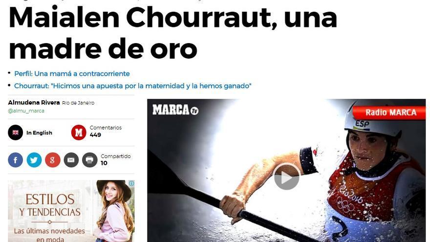 """Cobertura machista, Marca: """"Maialen Chourraut, una madre de oro"""""""