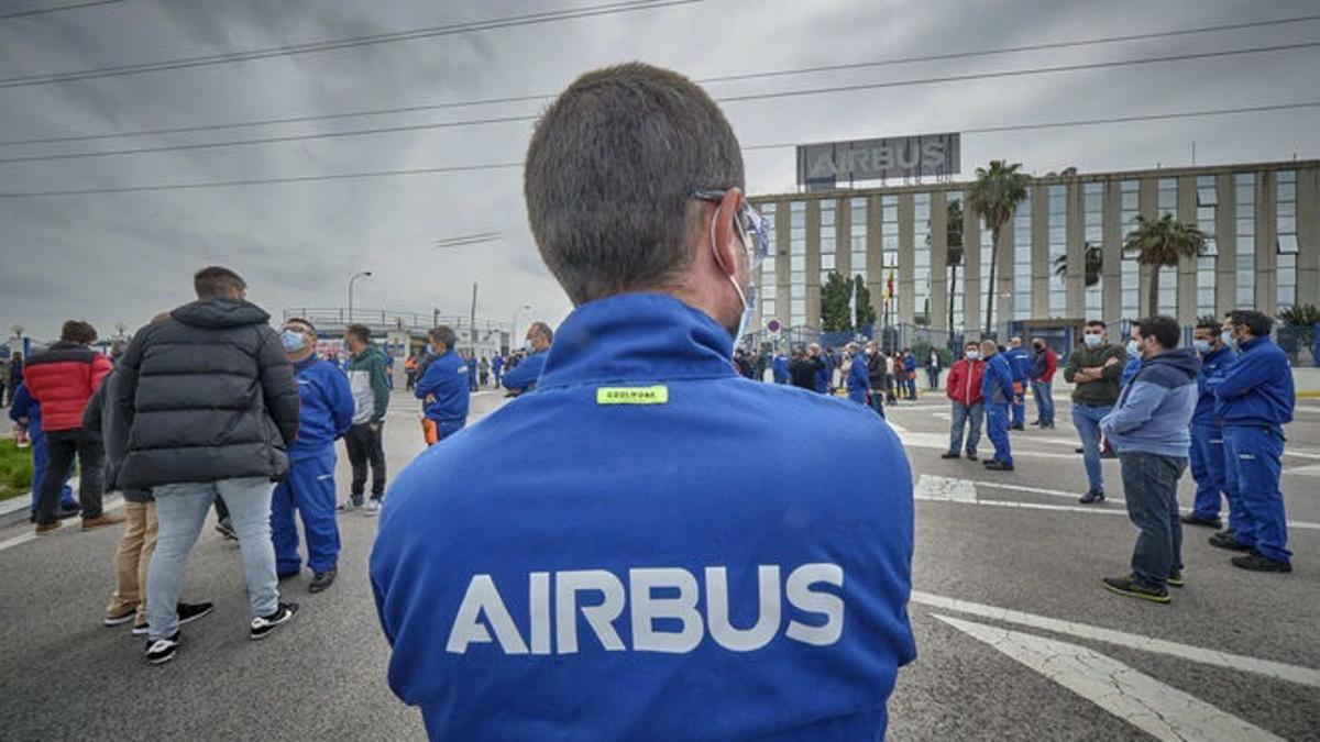 Protesta de los trabajadores de Airbus en Puerto Real.