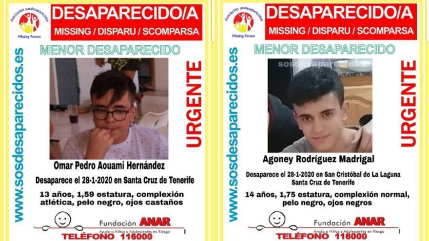 Carteles de la desaparición de los dos adolescentes en Tenerife