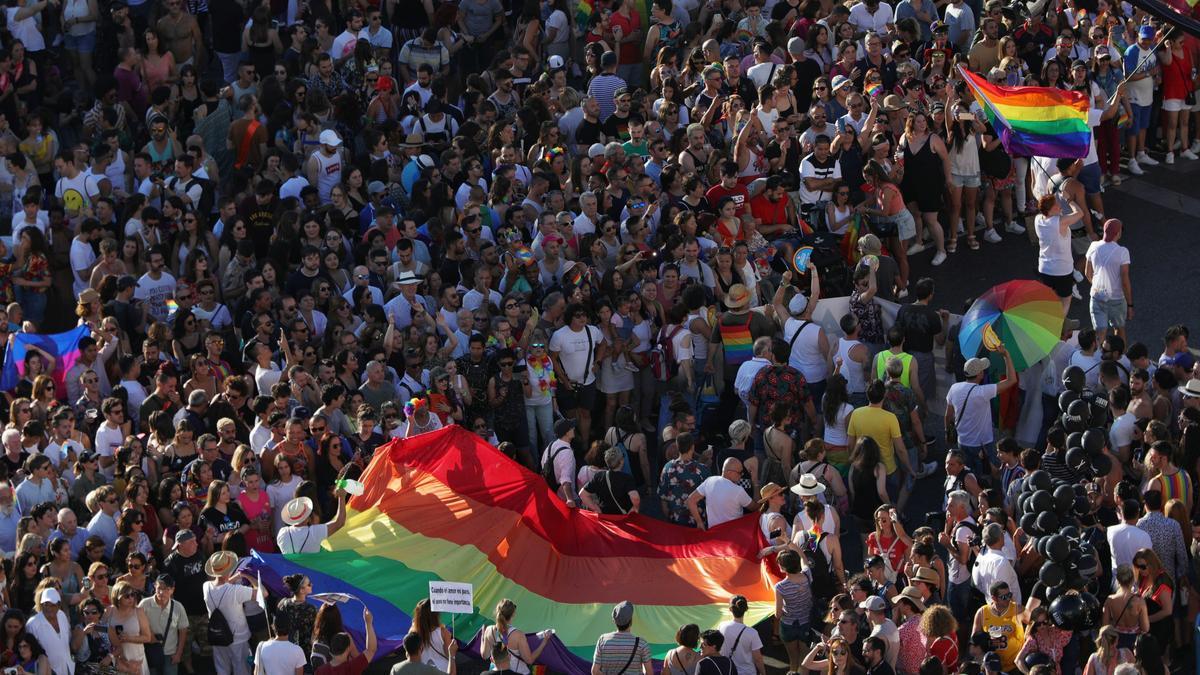 Manifestación del Orgullo 2019, la última multitudinaria que se celebró en Madrid.