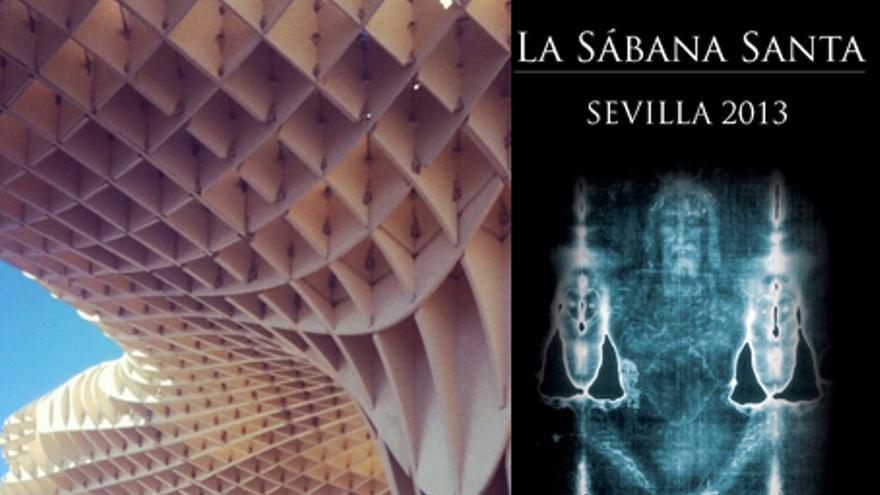 Cartel de la exposición de la Sábana Santa en Sevilla