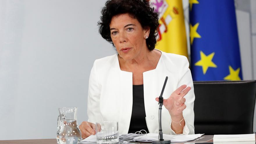 La portavoz del Gobierno y ministra de Educación, Isabel Celaá, en el Consejo de Ministras de este viernes