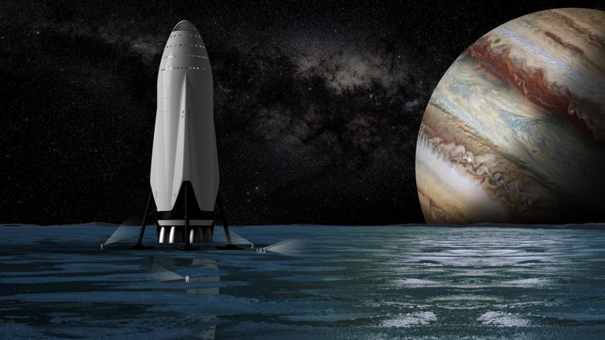 Una recreación del BFR de Musk, listo para despegar