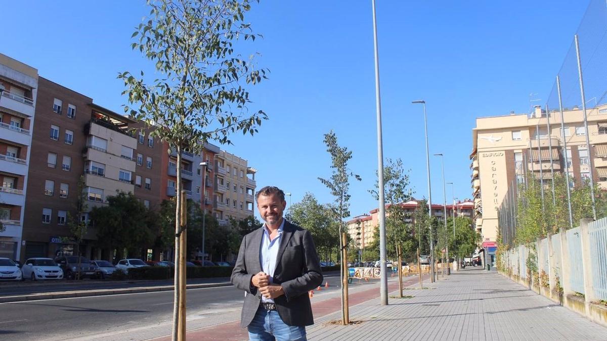 El edil de Medio Ambiente del Ayuntamiento de Córdoba, David Dorado, en la avenida del Aeropuerto.