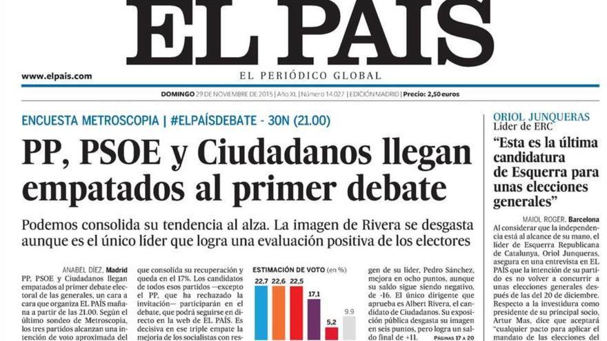 Portada de El País del 29 de noviembre de 2015