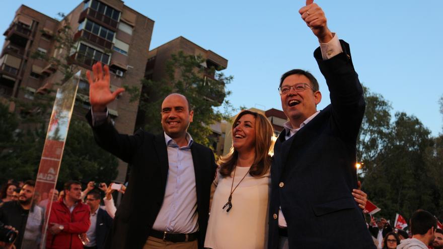 Gabriel Echávarri, Susana Díaz y Ximo Puig en Alicante.
