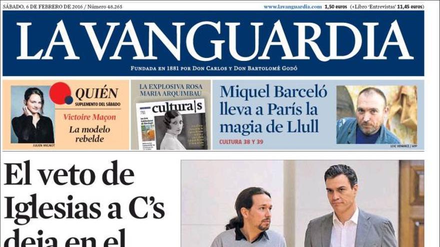 Portada de La Vanguardia 06022016