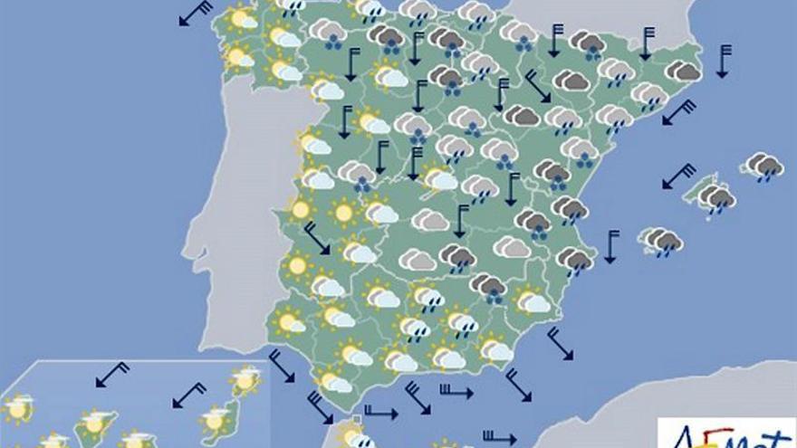 """La borrasca """"Gloria"""" dejará hoy lluvia y nieve, sobre todo en el este"""