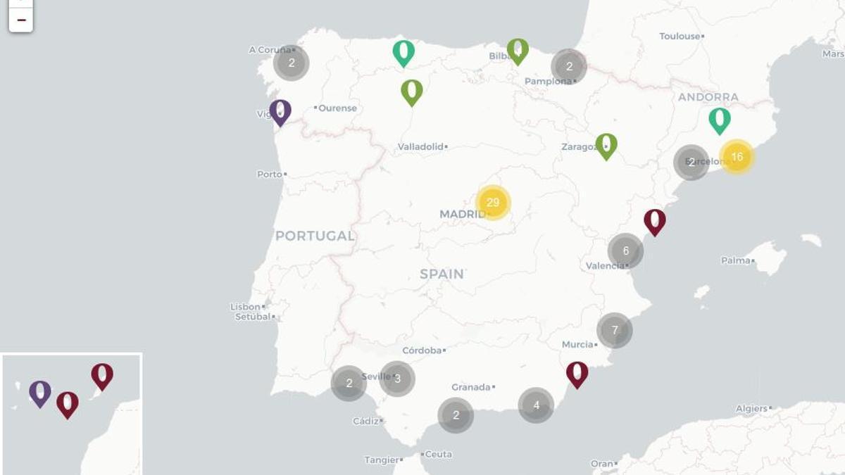 Mapa de crímenes de odio en España entre 1990 y 2020. Por crimenesdeodio.info