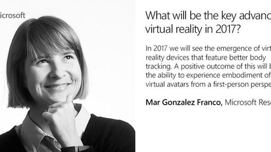 Mar González Franco se encargó de elaborar las predicciones de Microsoft en materia de realidad virtual