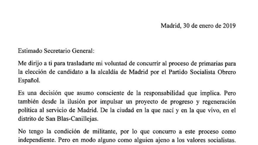 Carta en la que Pepu Hernández acepta la propuesta del PSOE para presentarse a las primarias como candidato por Madrid