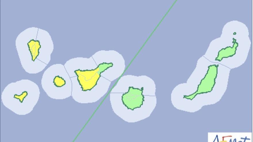 Mapa de la Aemet del aviso de riesgo por lluvias, viento y tormentas para este domingo, 26 de noviembre.