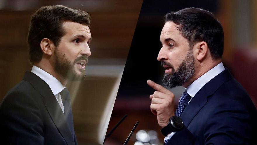 Pablo Casado y Santiago Abascal durante la moción de censura