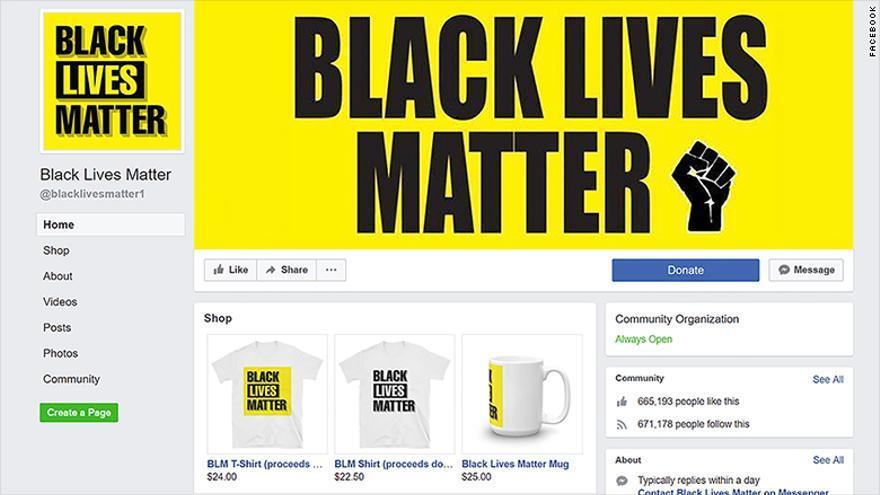 Pantallazo de la página falsa de Black Lives Matter.