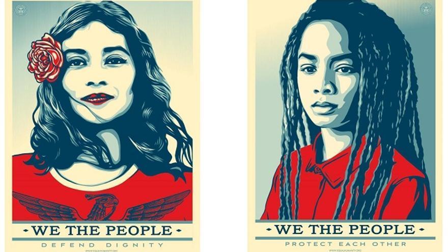 """Carteles """"anti-Trump"""" creados por Shepard Fairey para el proyecto We The People."""