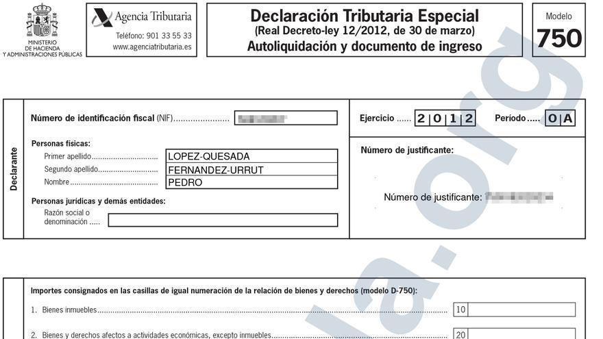 Declaración Tributaria Especial (DTE) presentada por Pedro López Quesada para regularizar su patrimonio oculto en el extranjero