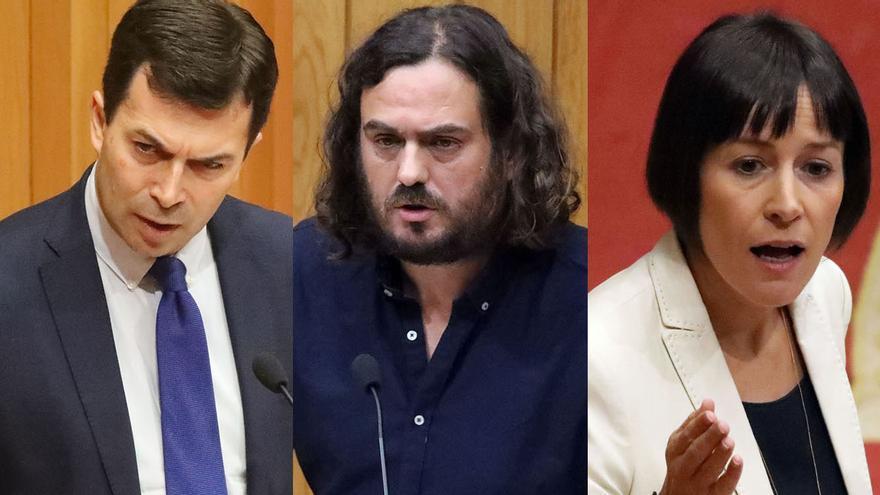 Gonzalo Caballero (PSdeG), Antón Sánchez (Común da Esquerda) y Ana Pontón (BNG)