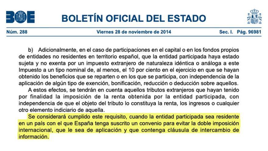 Extracto de la Ley de Impuesto de Sociedades, aprobada por el Ejecutivo de Mariano Rajoy en 2014.