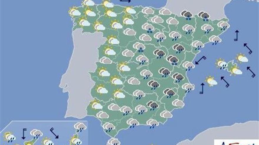 Hoy, lluvias fuertes en sur y este peninsular y descenso de temperaturas