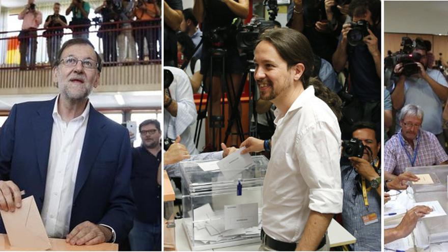 Los candidatos de los principales partidos acuden a votar en la mañana del 26J