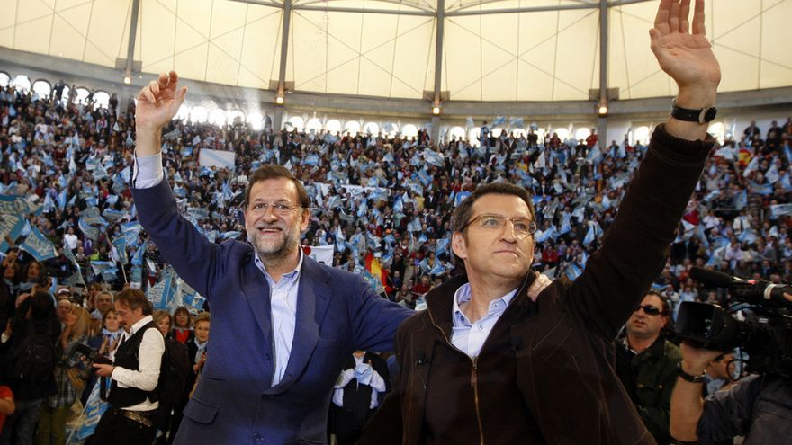 Mitin de Rajoy y Feijóo en Pontevedra durante la campaña de 2009
