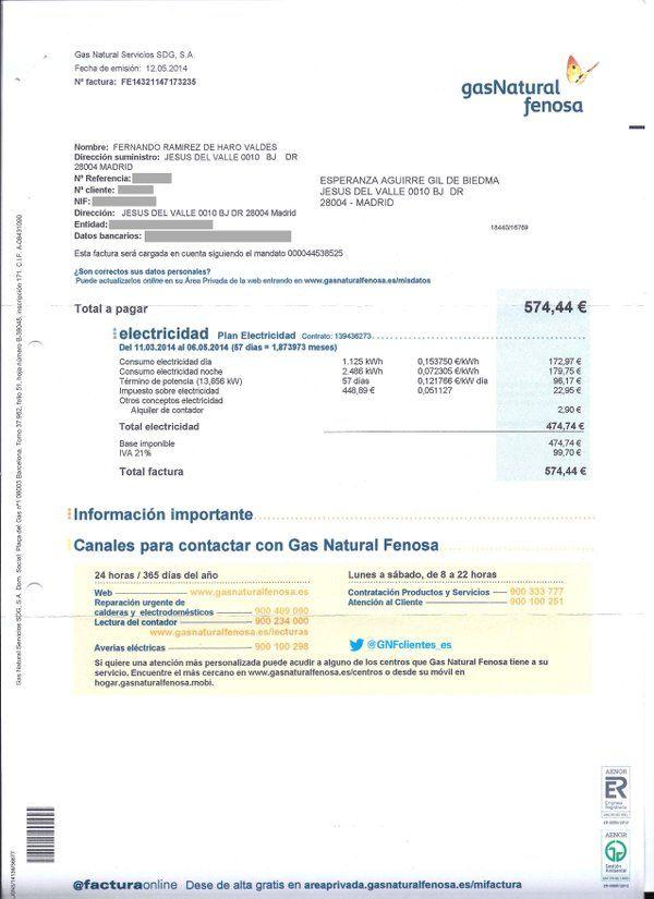 Recibo de la luz pagado por Esperanza Aguirre en 2014, fuera del periodo del que informa Vozpópuli | PP MADRID