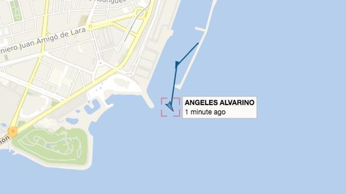 Posicionamiento del buque a las 14.13 horas, hora local canaria