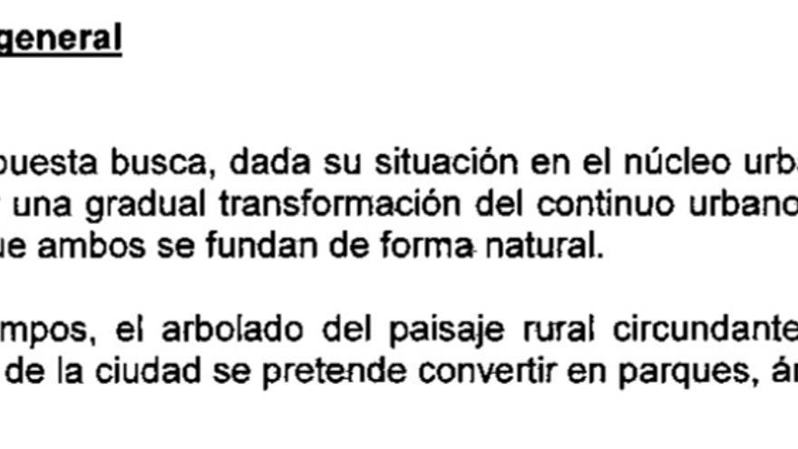 Resumen del objetivo manifestado para justificar la urbanización de Montalvo