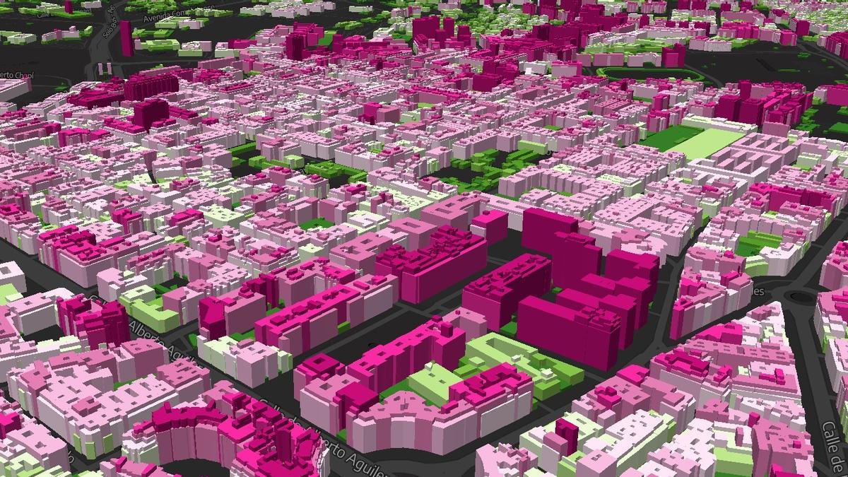 Mapa de alturas de los edificios de Chamberí