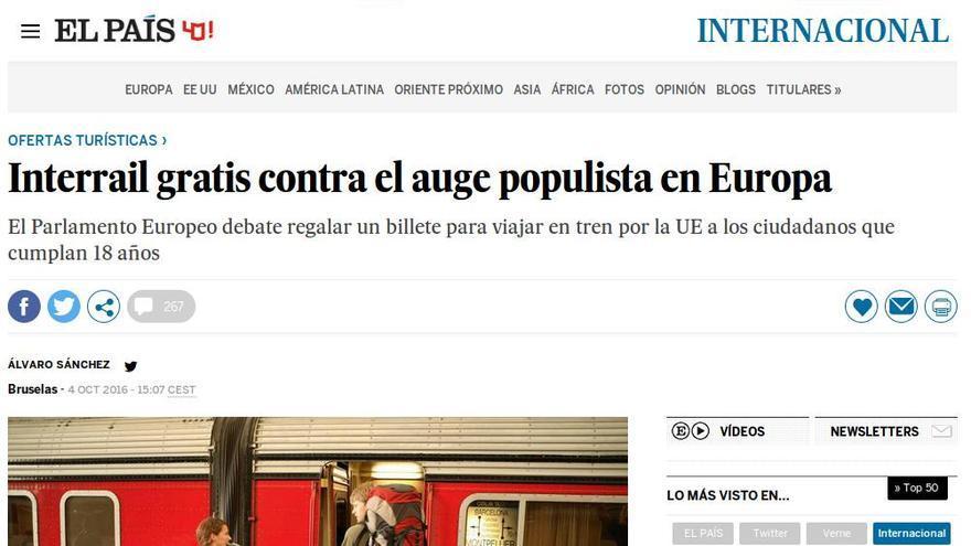 Artículo en El País sobre una propuesta debatida en el Parlamento Europeo